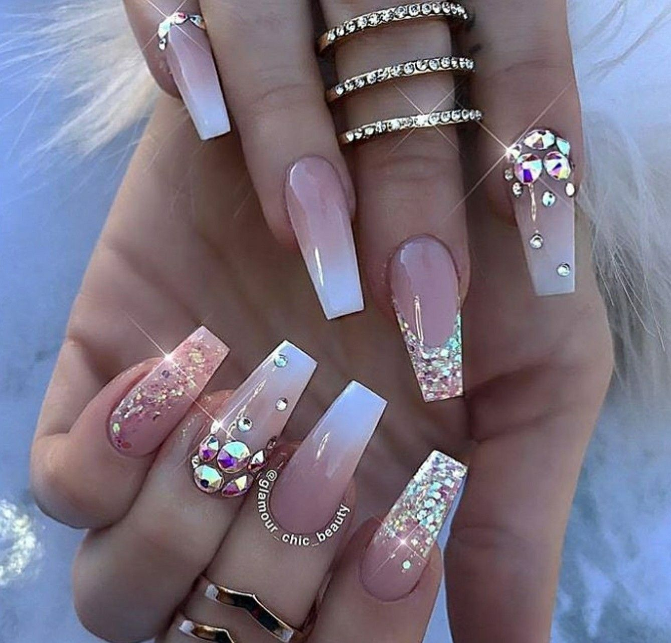 Tapered Square Nails Ombre Nails Glitter Nails Nails With Rhinestones Acrylic Nails Tapered Square Nails Luxury Nails Cute Acrylic Nails