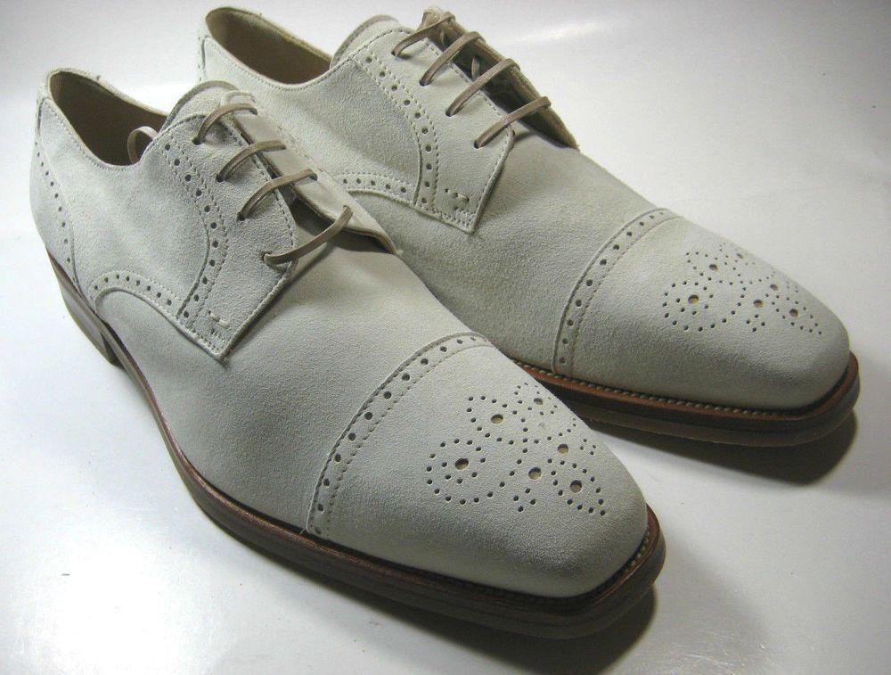 MORESCHI 11M Rich Cream Off-White Eggshell Suede Oxford Rare Italy Shoes #Moreschi #Oxfords