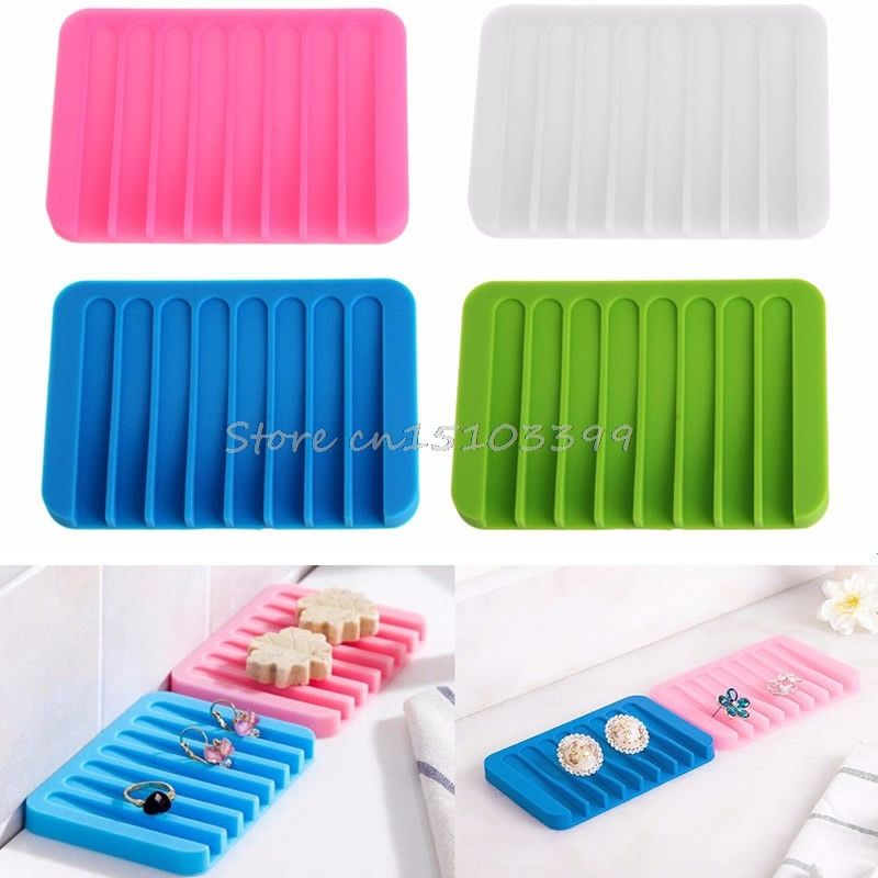 Flexible Silicone Soap Dish Plate Holder Tray Soapbox Kitchen Bathroom Supply Be
