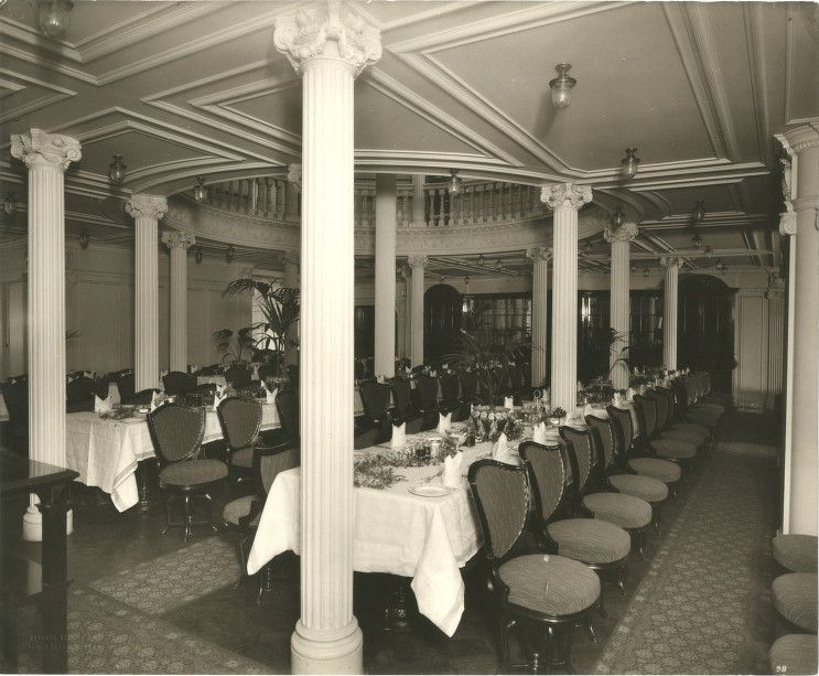 Interior of the Lusitania  1905 1907 Second Class Dining Room. Interior of the Lusitania  1905 1907 Second Class Dining Room