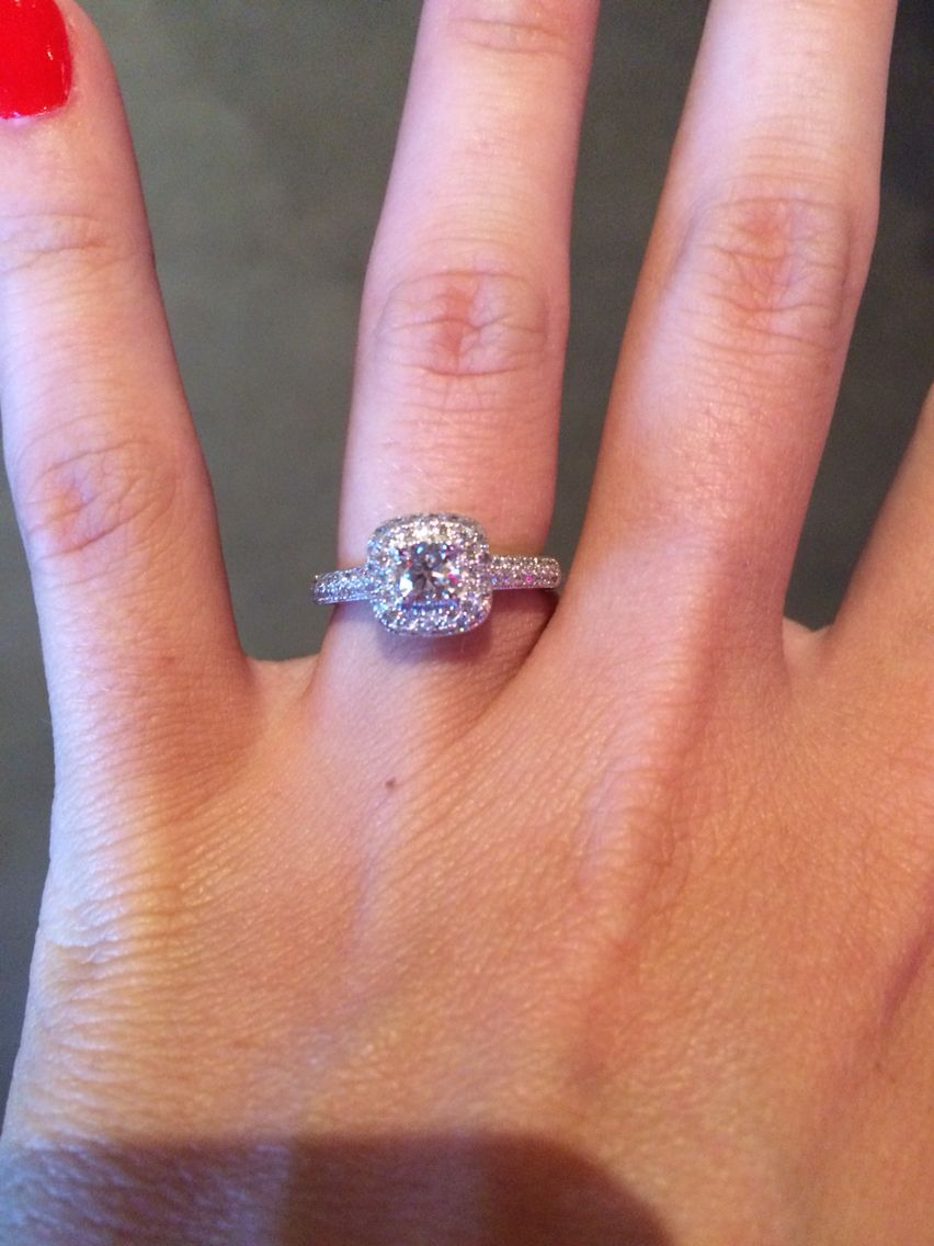 So in love with my engagement ring. Helzberg square cut halo <3 ...