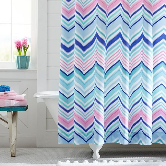Zig N Zag Shower Curtain Cool Multi Cool Shower Curtains