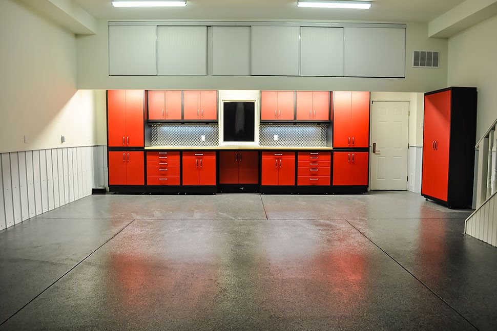 Gl Custom Steel Cabinets With A Red High Gloss Finish Butcher Block Counter Top And Diamond Plate Backsplash Were Installed