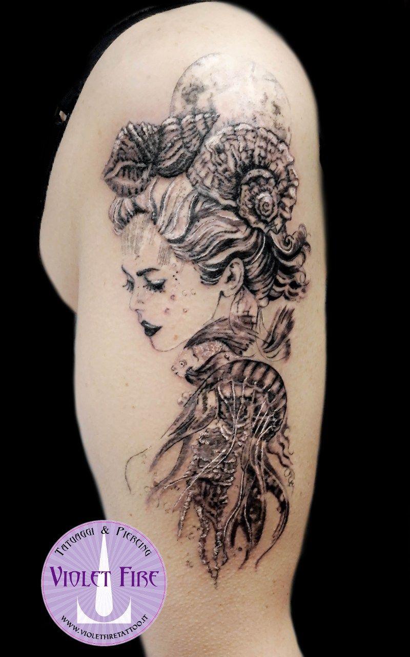 Tattoo old school tatuaggi old school pin up significato e foto quotes - Tatuaggio Sirena Marmaid Tattoo Princess Toyotamabime Tattoo Toyiotama Hime Tattoo