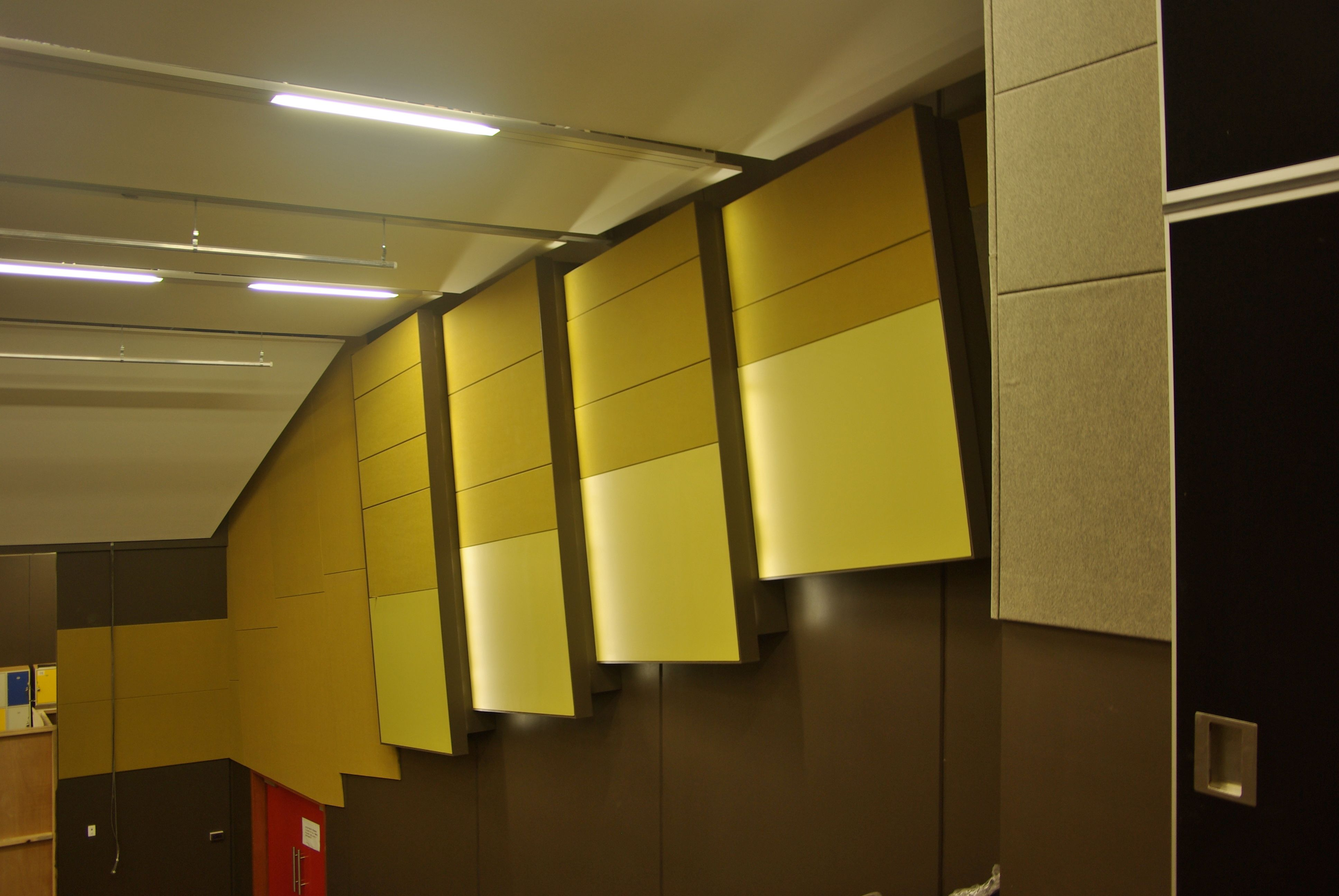 Acoustic Wall Panels In Auditorium - Sontext | Interior design-Walls ...