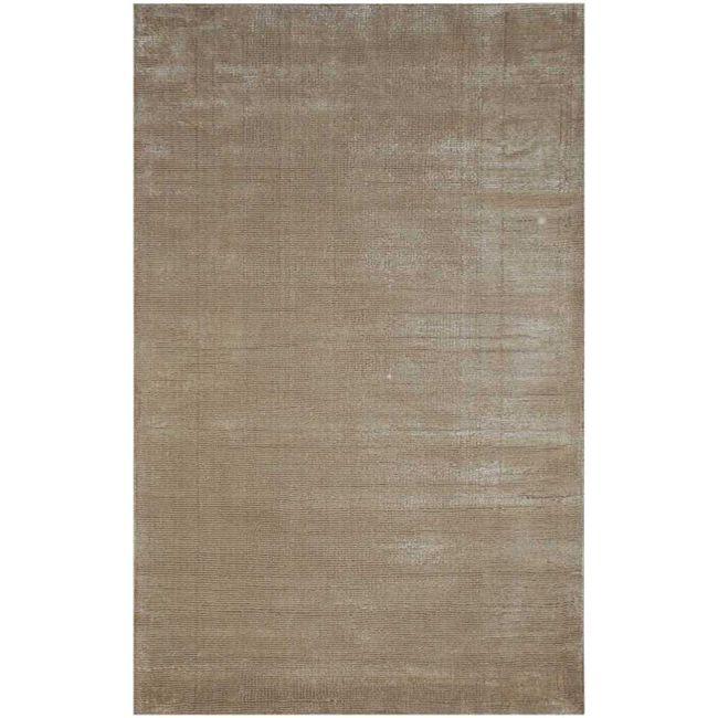 Hand-Woven Beige Wool and Art Silk Area Rug (8' x 10')