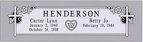 This granite headstone design features crosses, flowers and a heart shaped outline featuring a date of marriage. #granite #headstone #design #gravestone #marker #gravemarker #tombstone #memorial #grave #burial