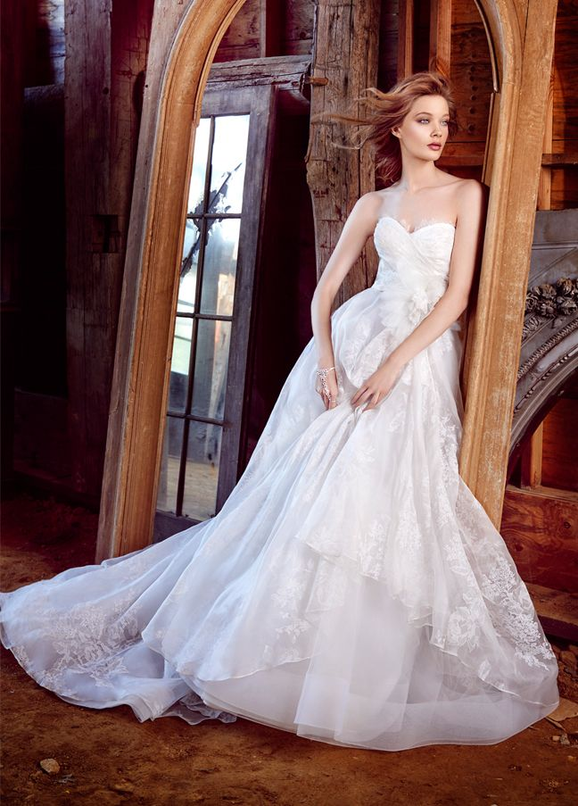 Ivory Floral Printed Silk Organza Bridal Ball Gown Strapless