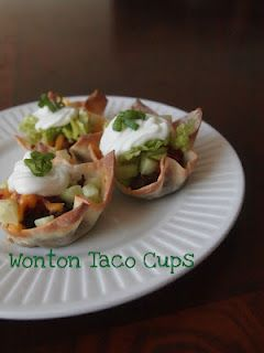 wonton taco cups - tracey: made these last night.  2 wontons per cup, ground turkey, taco bell taco seasoning, rotel original, shredded cheese. around 90 cals per cup and amazing.