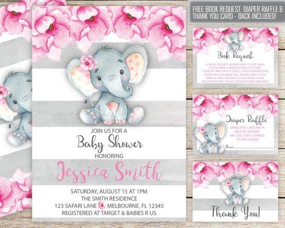 Elephant Baby Shower Invitation Suite Insta