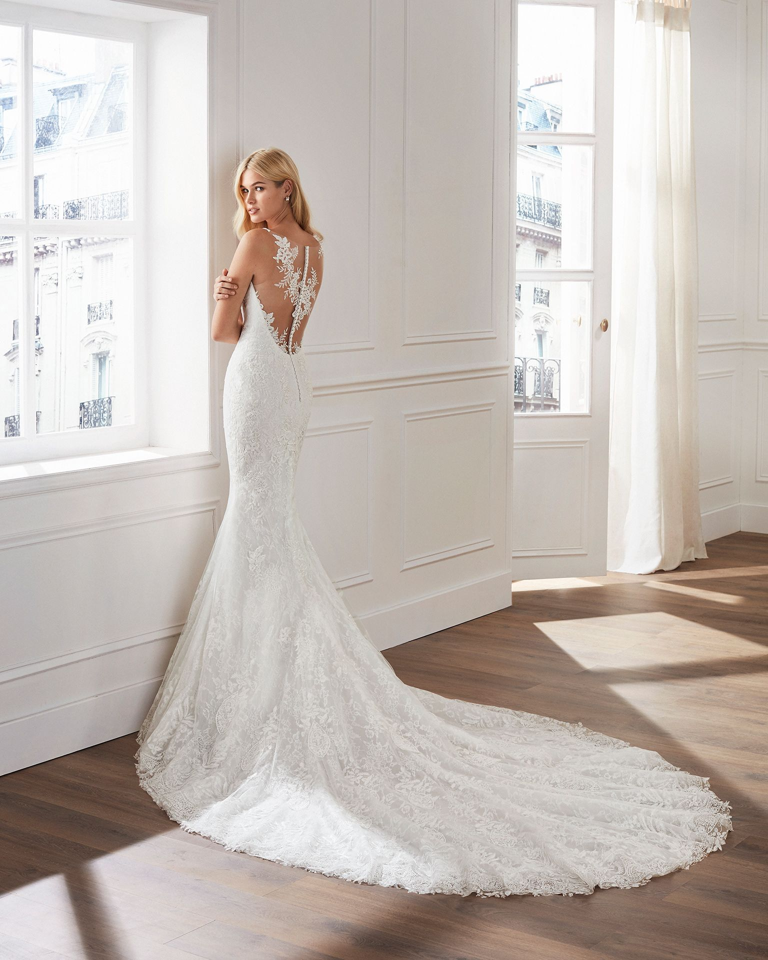 Sweetheart Neckline Lace Mermaid Wedding Dresses New 2019: Mermaid-style Lace Wedding Dress. Sweetheart Neckline And