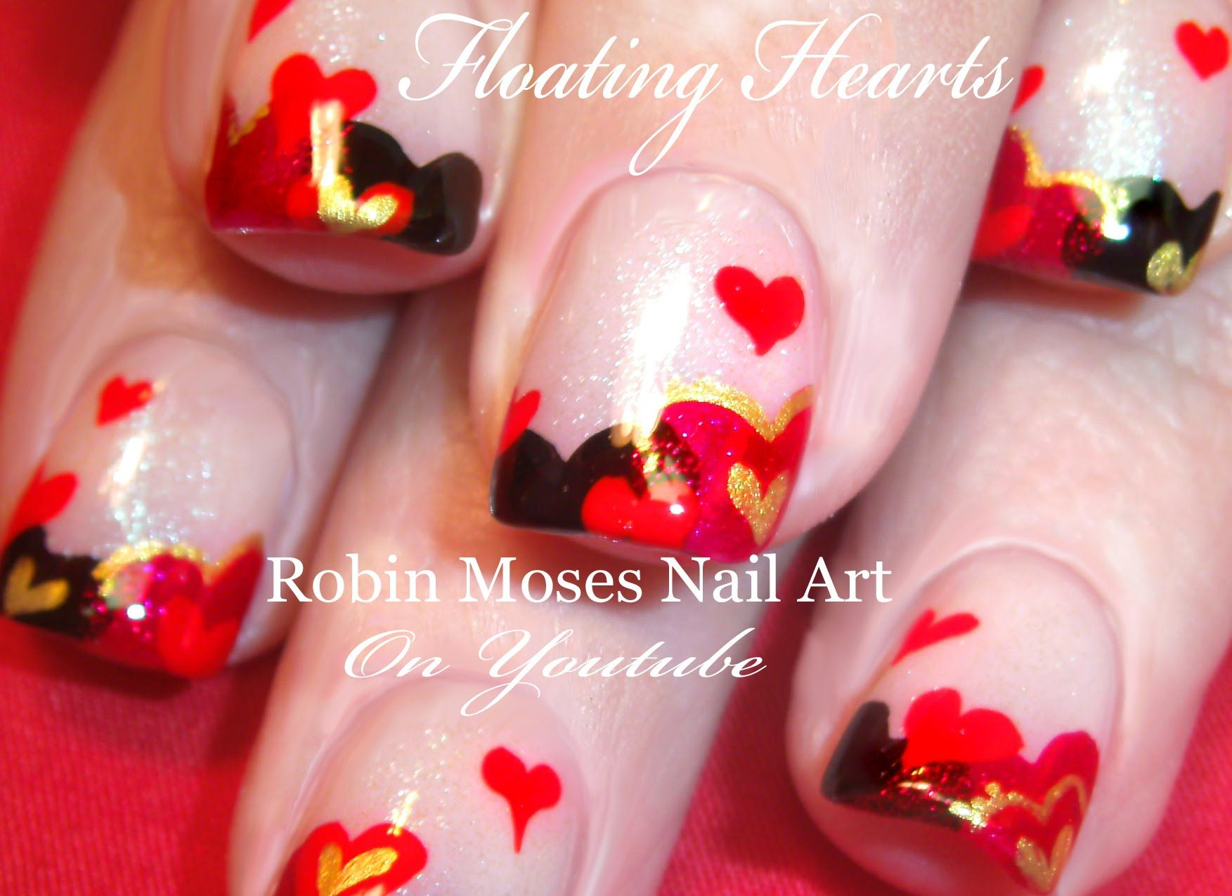 easy valentine's day nails | cute floating hearts nail art design