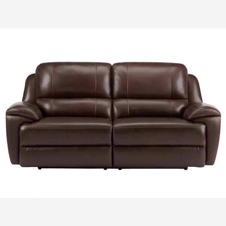 Finley Large Sofa With 2 Electric Recliners Brown