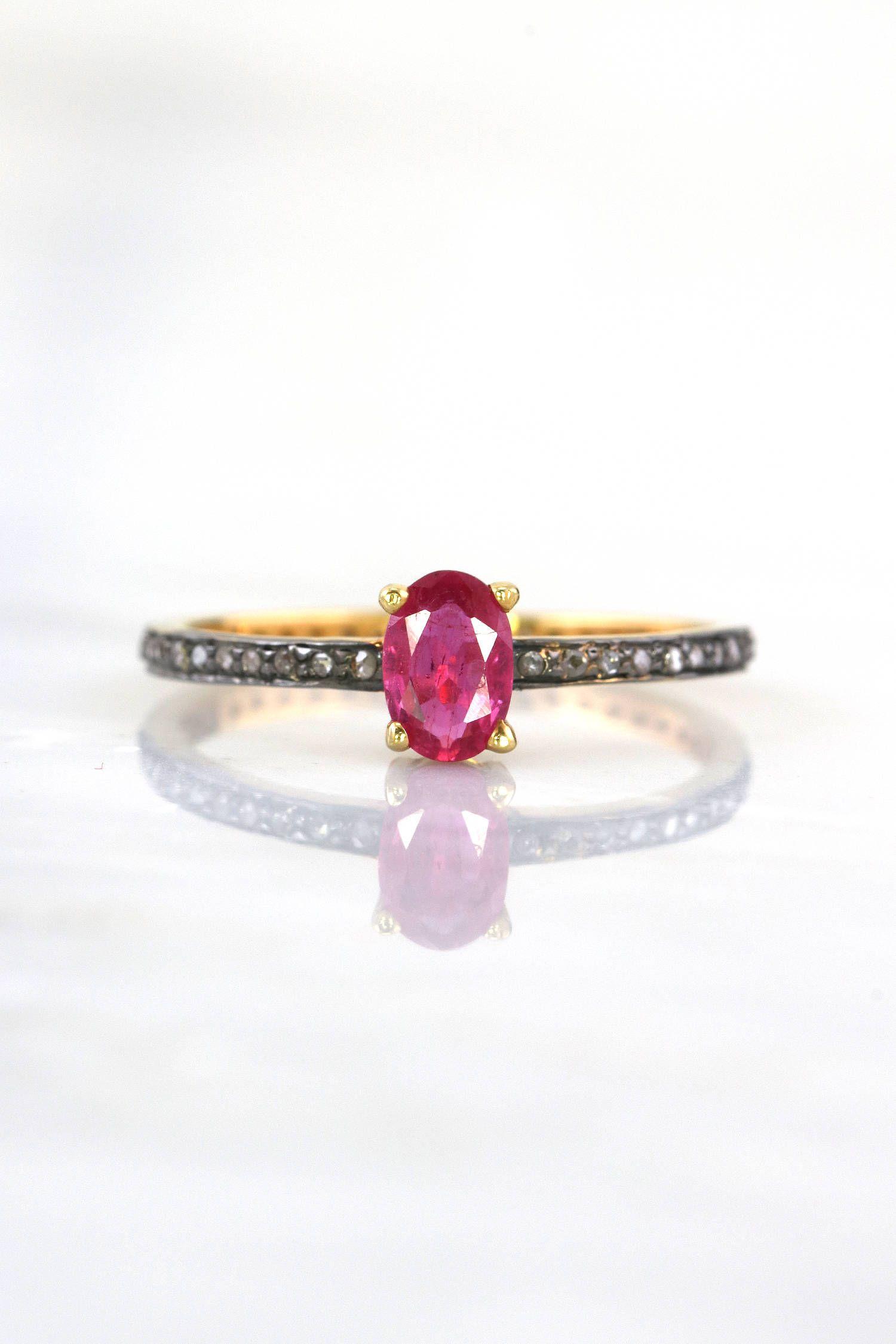 Dainty diamond ring genuine ruby ring micro pave diamond ring