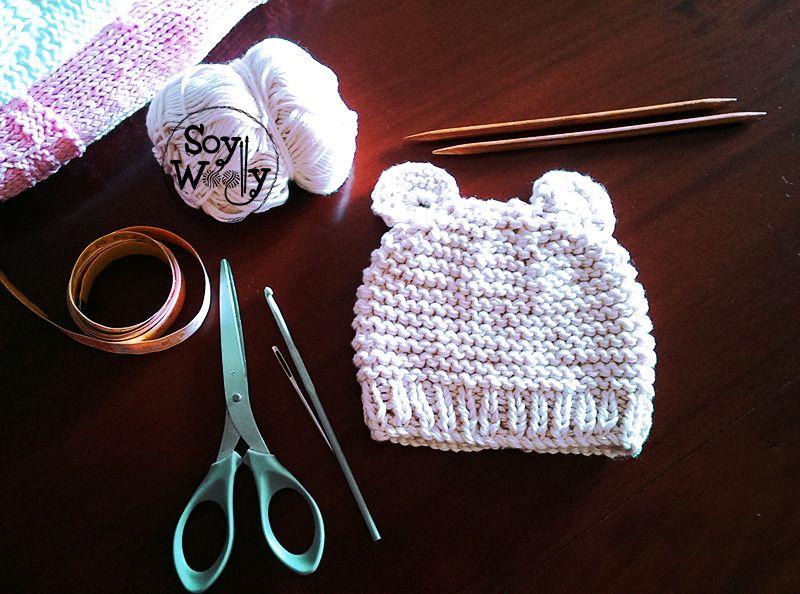 Cómo tejer un gorro de bebé fácil con dos agujas/palitos | Dos ...