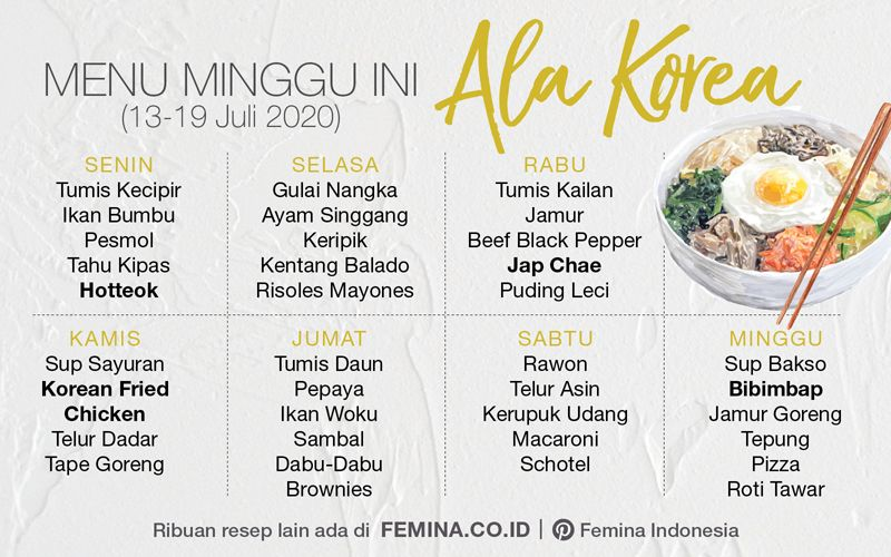 Menu Mingguan Ala Korea Masakan Indonesia Makanan Menu Mingguan