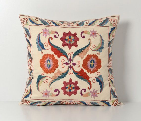 Suzani Cushion Cover Floral Hand Embroidery Vintage Suzani Etsy Suzani Cushion Cover Designs Decorative Pillows Couch