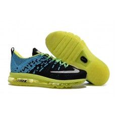 new product 79765 0a56f Billig Youth Nike Air Max 2016 Flyknit Print Sko Svart Moon Fluorescent  Gronn 806771 På Nett