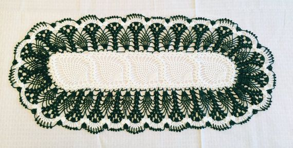 Green Crochet Table Runner Christmas By Myvintagesoulbyruth