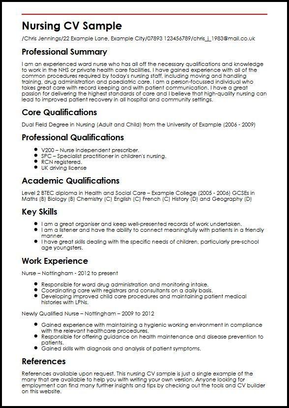 Professional Cv Nursing Sample Customer Service Resume Nursing Cv High School Resume Student Nurse Resume