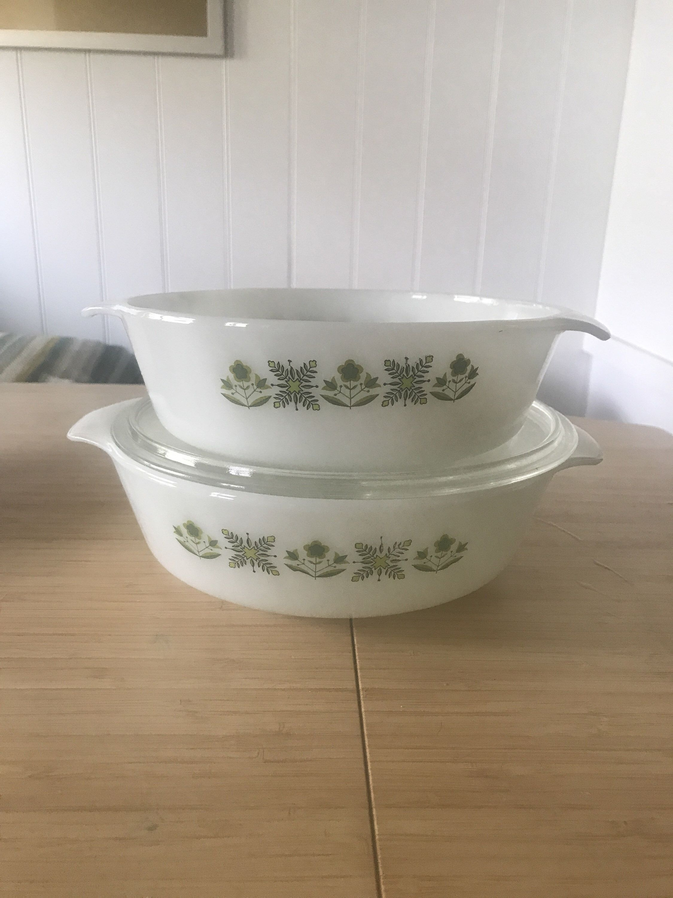 Fire king green meadows ovenware set by anchor hocking vintage