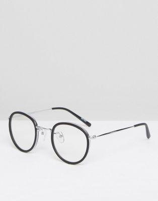 ASOS - Lunettes rondes métallisées avec verres transparents - Noir - Noir k2iEE1Pcw
