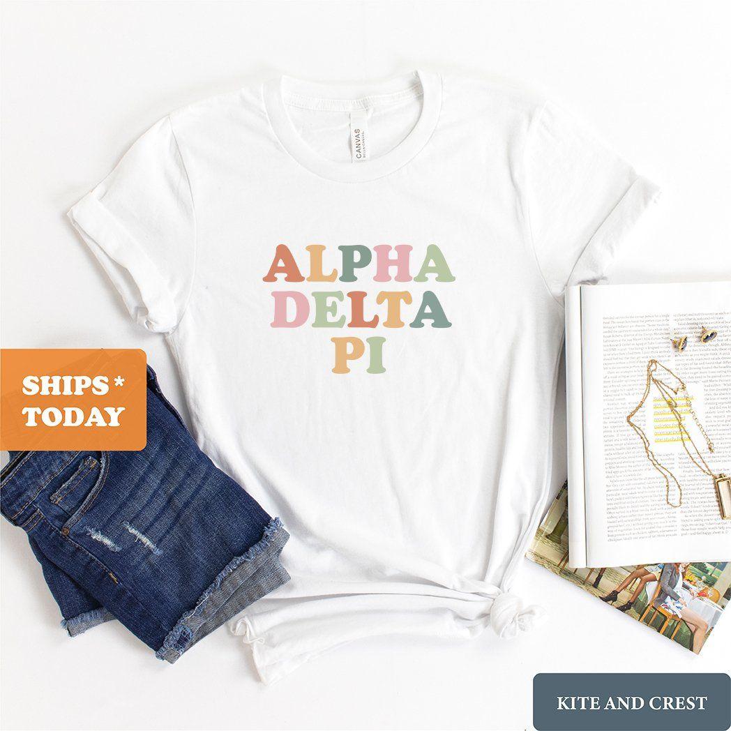 Adpi Alpha Delta Pi Bright And Colorful Sorority Crewneck Sweatshirt Adpi Crewneck Adpi Sorority Gear A Sorority Tshirts Sorority Sweatshirts Sorority Shirts [ 1048 x 1048 Pixel ]