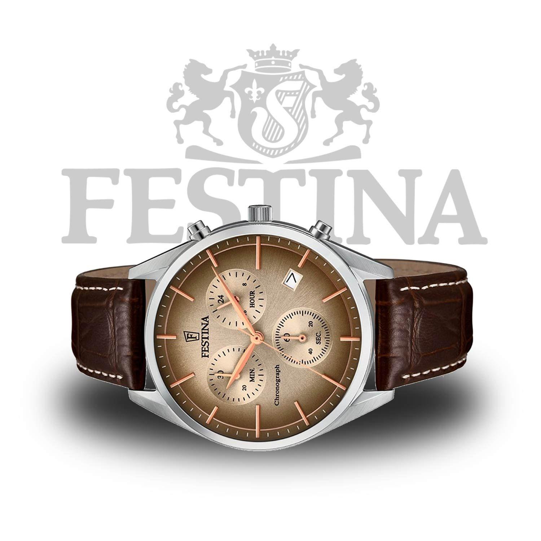 Festina Herren-Chronograph F6860 2 – braune Herrenuhr im stilvollen  Business-Style 0a21772c2b