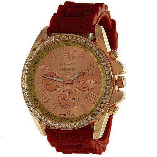 Mark Naimer Women's Fashion Watch in Rose Gold Color Stone Studded Dial/Case and Red Silicone Bands - Mini Dial Displays do not Function Mark Naimer http://www.amazon.com/dp/B00GCQJ1LU/ref=cm_sw_r_pi_dp_bbT.wb0RJD5H8