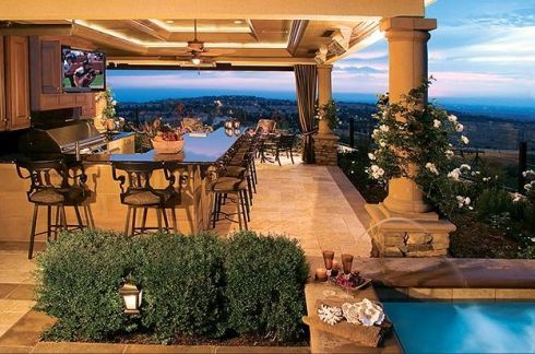 Dream Patio For The Home Pinterest Kitchens Patios And Stunning Backyard Designs With Pool And Outdoor Kitchen Set