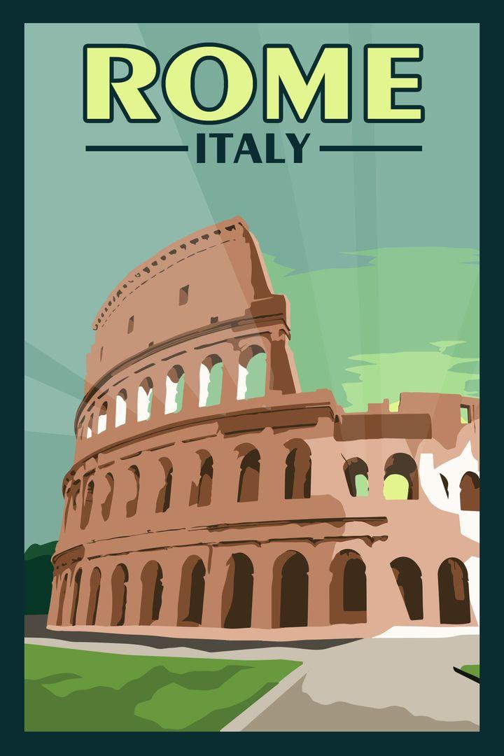 Rome Italy Vintage Travel Poster Retro Travel Poster Travel Posters Vintage Travel Posters