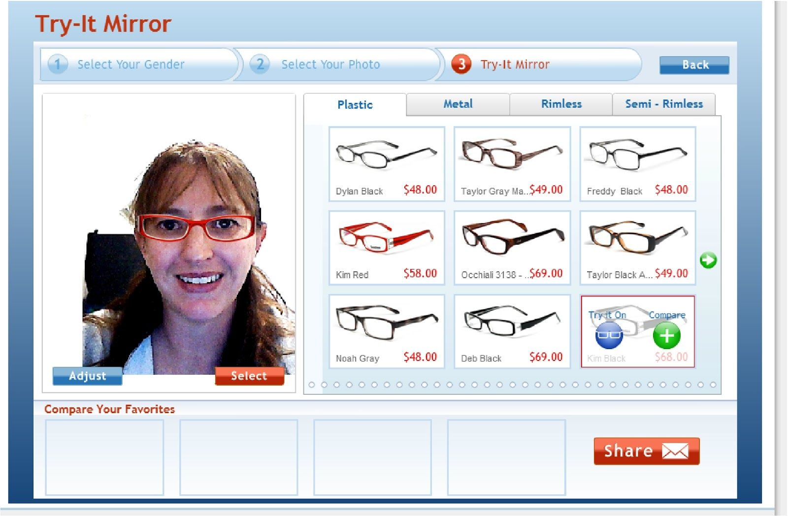 17e1eab4d96 Kims Kandy Kreations  GlassesUSA has a virtual optician   a Virtual Mirror  where you can take a picture of yourself   try on all their glasses!
