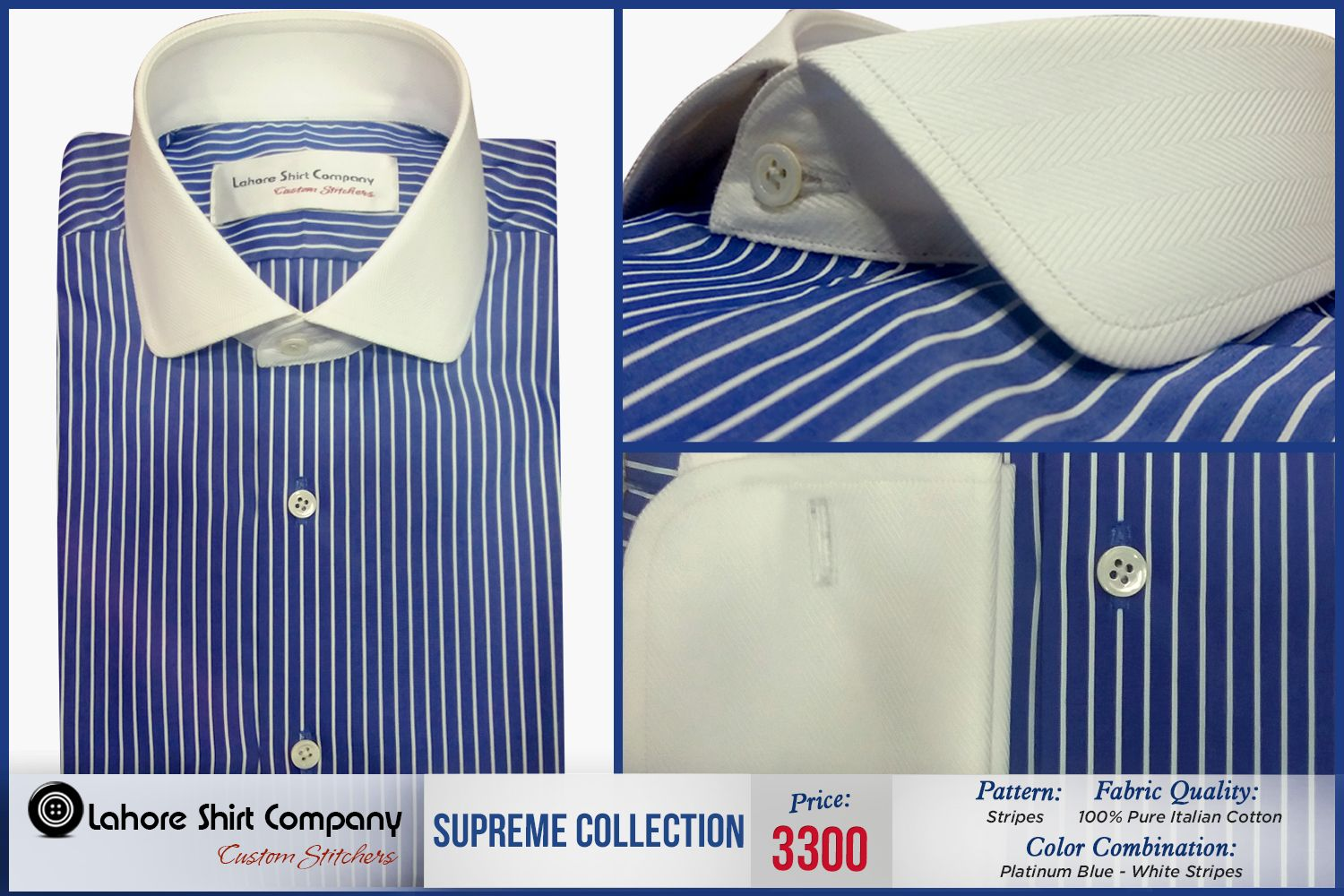 Lahore Shirt Company offers you elegantly designed shirts that will surely enhance your Style.  Our Blue Stripes custom shirts finished with handmade Button hole. Our stylist add classiness by designing it with White herringbone French cuff and spade spread collar.  Order your custom dress shirt by calling us at (042) 35844470 #customshirts #mensfashion #menstyle #fashion #shirts