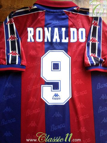 Relive Ronaldo s 1996 1997 season with this vintage Kappa Barcelona home  football shirt. 20bf48a6c5d3b