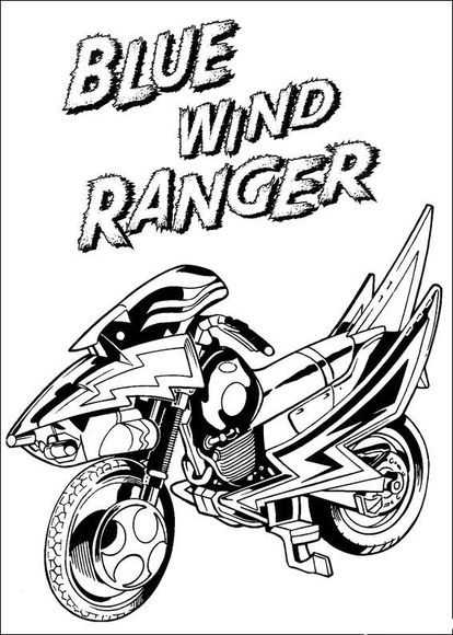 Blue Wind Power Ranger motorcycle Coloring page for boys | Color me ...
