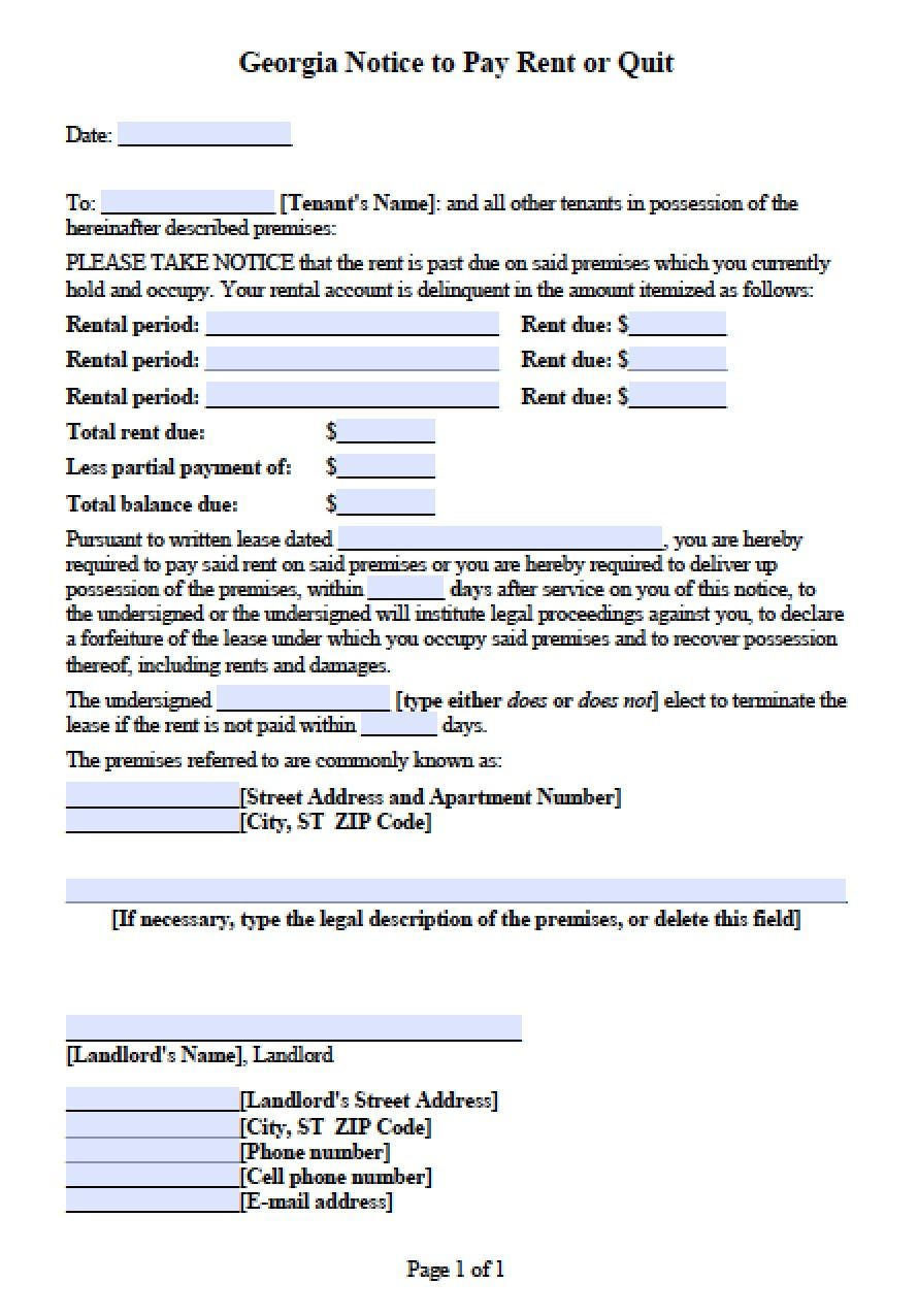 GeorgiaNoticeToPayOrQuitJpg   Legal Forms