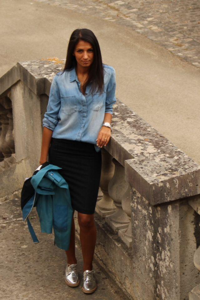 www.juponetmacaron.fr Derbies + jupe + chemise en jean   Mode ... b91dfce4bea0