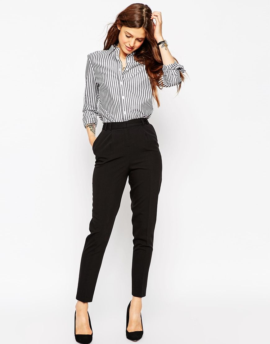ASOS Pants in High Waist with Straight Leg at asos.com