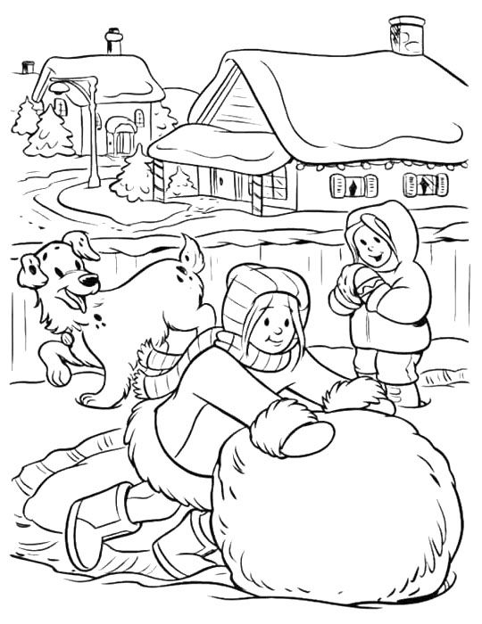 Make A Big Snowball Winter Coloring Page Coloring Pages For