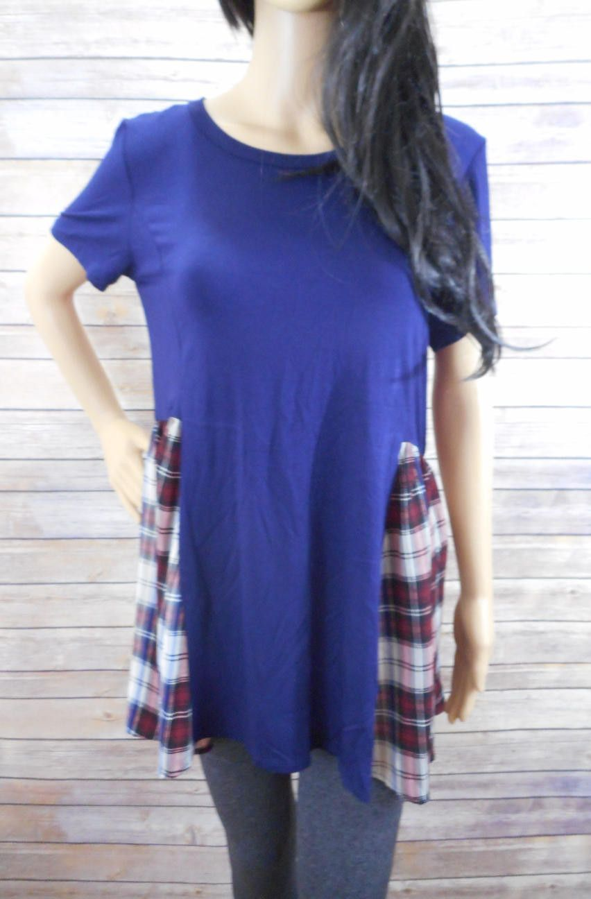 Red flannel around waist  Dark Blue Short Sleeve Top With Dark Red Flannel  Large Large Self