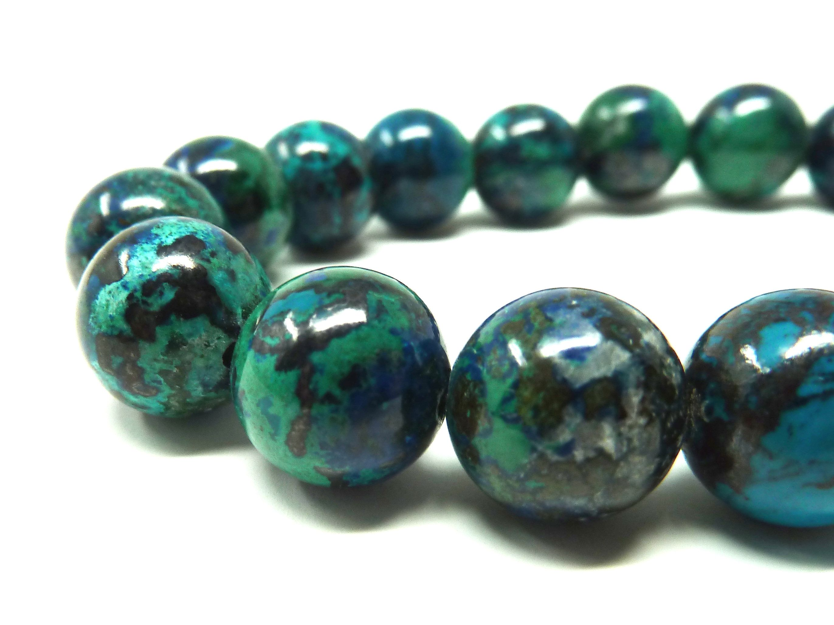 High Quality Bead 10mm Natural Stone and Color Dark Color Smooth Round Black-Green-Blue Bead Bead for Handmade Jewelry Chrysocolla Bead