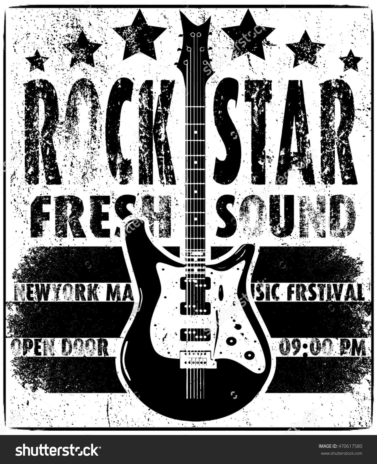 cool grunge hand drawn electric guitar with distorted text in it  rock star  eps10 vector image
