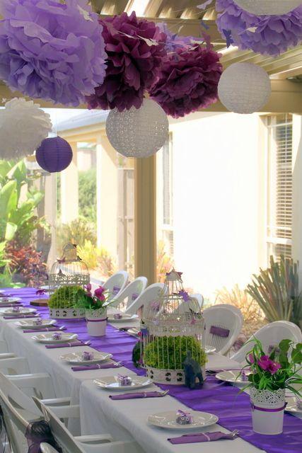 Purple Butterflies And Elephants Birthday Party Ideas Party Table Settings Purple Table Settings Bridal Shower Decorations Elegant