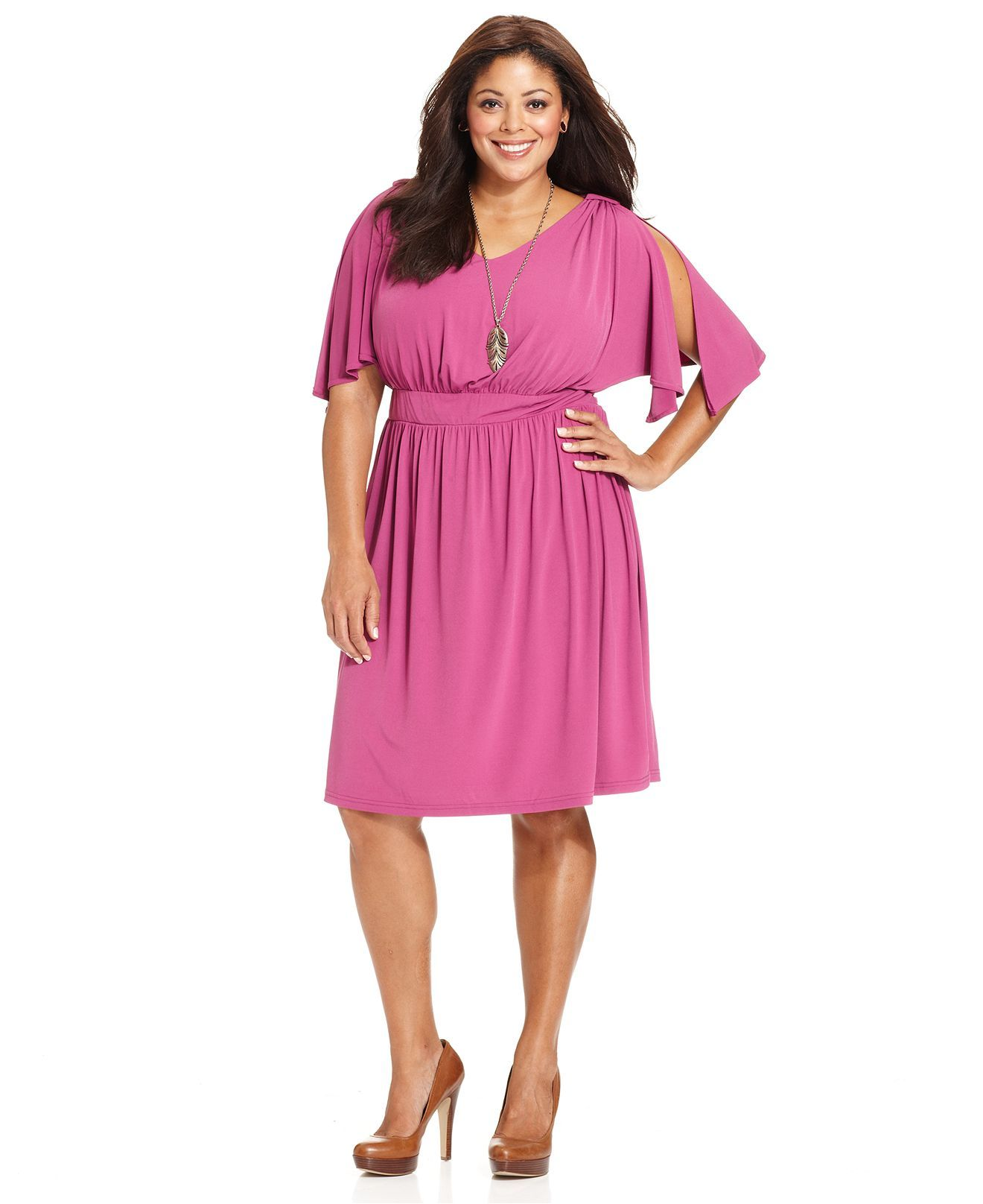 Spense Plus Size Dress, Flutter-Sleeve Banded Waist A-Line - Plus ...