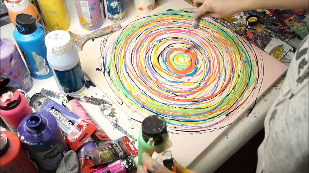 Für Anfänger Abstrakte Kreise Mit Acrylfarbe In 10 Minuten