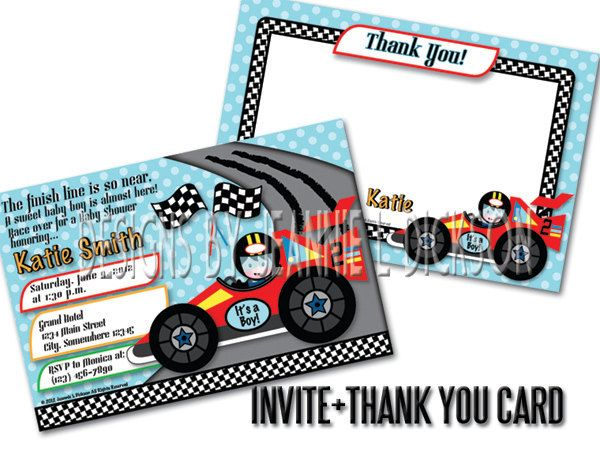 Race Car Printable Invitation and Thank You Card Combo For by HoneyBops. $21.95 USD, via Etsy.