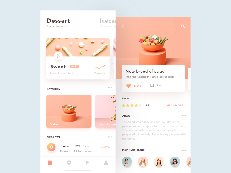 UI design exercises-Dessert by HippieMo
