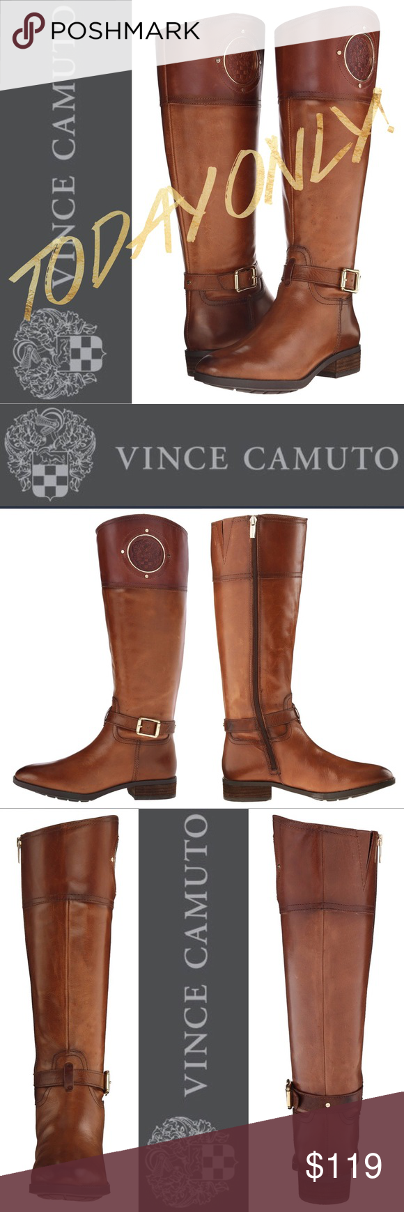 """TODAY ONLY Vince Camuto wide calf riding boot 5.5 Vince Camuto sale TODAY ONLY!   Phillies wide calf boot In rich cognac  Knee-high riding boot with polished hardware Stacked heel, 1.5"""" Shaft, 16.5"""" Leg circumference, 14.5"""" Leather upper Almond toe Synthetic lining and sole Lightly padded insole  Brand new & never worn!  Size 5.5 - WIDE calf! Hard to find and never on sale! $$$$ Retails for $239 $$$$  ~~*~~No Trades~~*~~  Sale ends at midnight Vince Camuto Shoes Heeled Boots"""