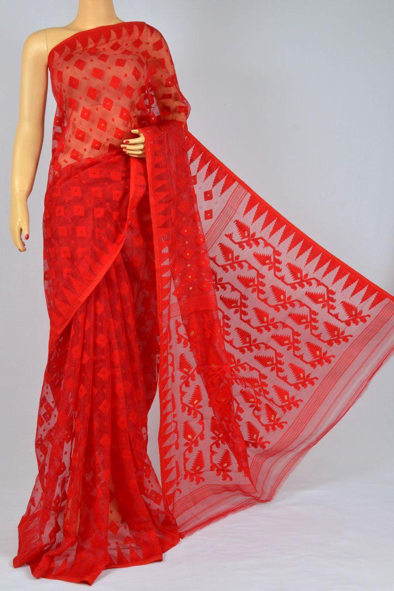 d91df5141a Red Color Soft Dhakai Jamdani Handwoven Bengal Handloom Cotton Tant Saree  (Without Blouse) - MC250122