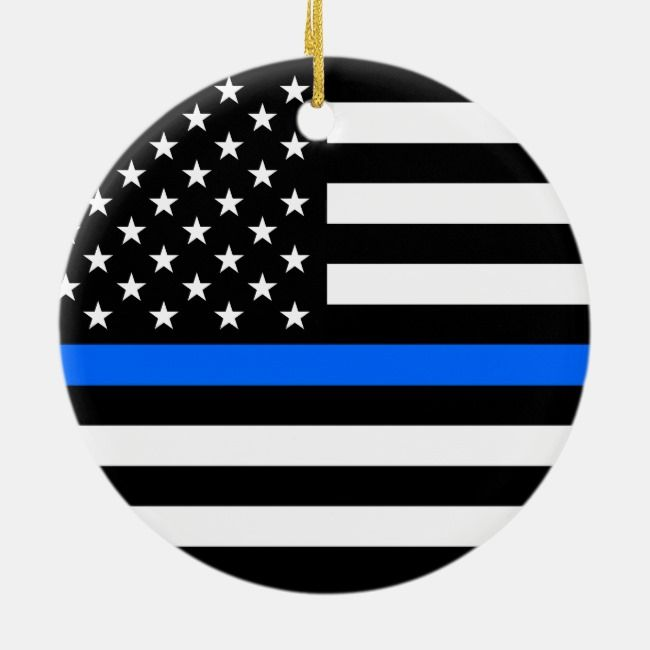 THIN BLUE LINE ON AMERICAN FLAG CERAMIC ORNAMENT | Zazzle.com #americanflagart